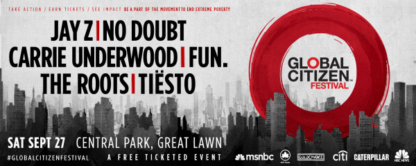 Tiesto 2014-09-27 Global Citizen Festival (New York, US) Banner