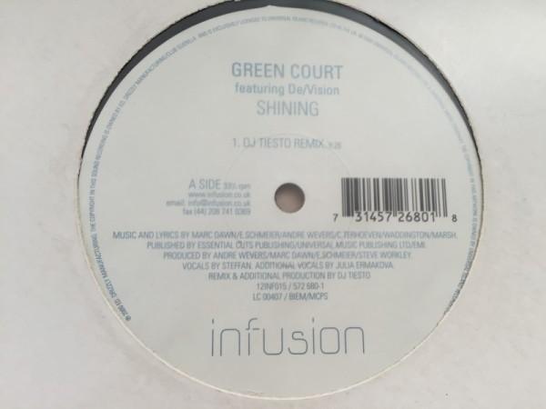 Green Court Featuring DeVision - Shining (Incl. Tiesto Remix) (Infusion) (Vinyl) 2000 (3)