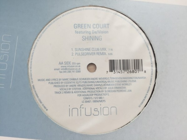 Green Court Featuring DeVision - Shining (Incl. Tiesto Remix) (Infusion) (Vinyl) 2000 (4)