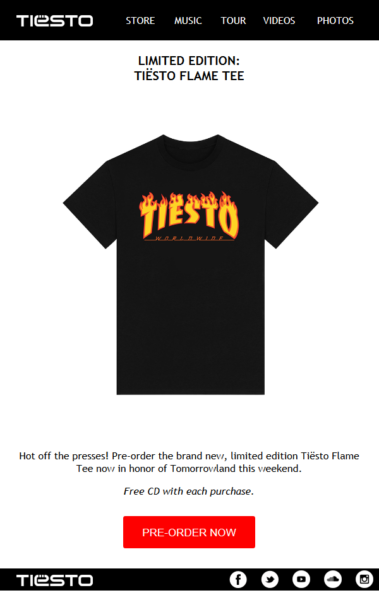 Limited Edition Tiesto Flame Tee (2016)