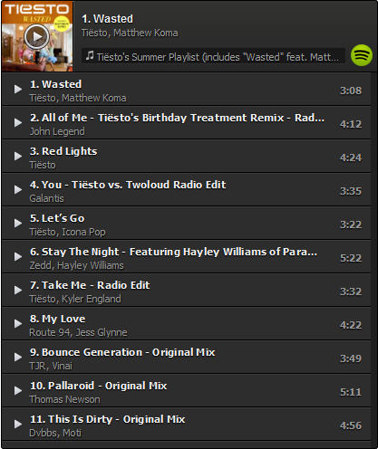 Tiesto's Summer Playlist (Incl. Wasted feat. Matthew Koma) (2014) 01-11