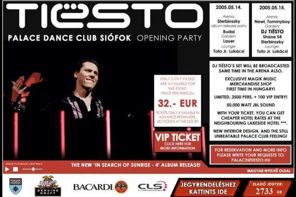 Tiesto 2005-05-15 Palace Dance Club (Siofok, HU) Flyer 2