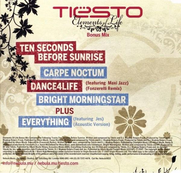 Tiesto - Elements Of Life (Bonus Mix) (Limited CDS) (2007) Back