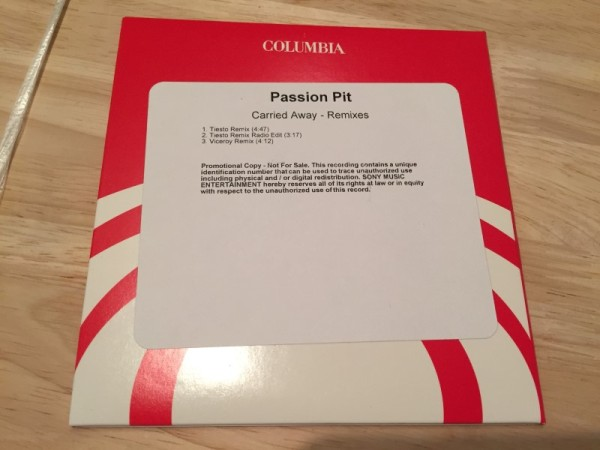 Passion Pit Carried Away (Incl. Tiesto Remixes) (Promo CD) 2013 (2)