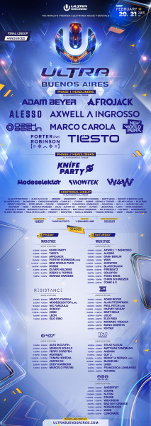 Tiesto 2015-02-20 Ultra Buenos Aires (Buenos Aires, AR) Line Up