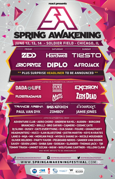Tiesto 2015-06-14 Spring Awakening (Chicago, US) Flyer