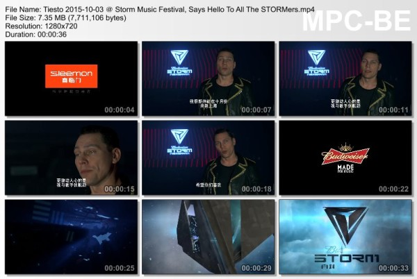 Tiesto 2015-10-03 Storm Music Festival, Says Hello To All The STORMers