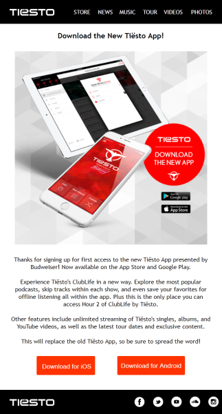 Brand New Tiesto App (iOS & Android) (2016) Mail Magazine