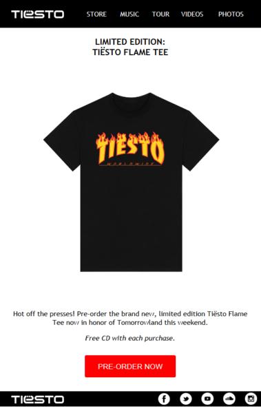 Limited Edition Tiesto Flame Tee (2016)